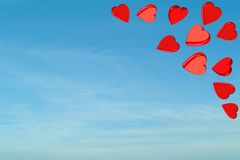 Red valentine hearts with sky Royalty Free Stock Image