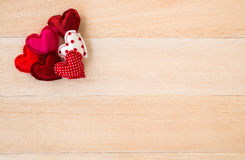 Red valentine hearts symbol on wood background Stock Photography