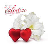 Red Valentine hearts and white lily royalty free stock image