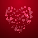 Red Valentine holiday background with hearts Stock Photos