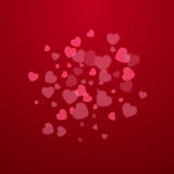 Red Valentine holiday background with hearts Stock Images