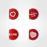 Red valentine labels Stock Images