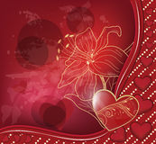 Red valentine postcard Stock Image