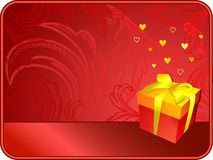 Red valentine's background. With gift box, heart shapes and copy space stock illustration