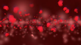 Red Valentine`s Day Animation. Valentine`s day animation, flying hearts and particles. Seamless loop background stock footage