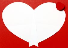 Red Valentine's Day background with heart and gift box Stock Image