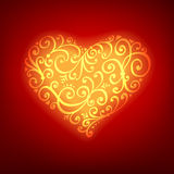 Red Valentine's Day background with heart. Vector greeting card. Editable blend options Royalty Free Stock Image