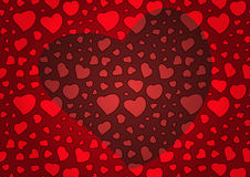 Red Valentine's Day Background with Hearts Stock Images