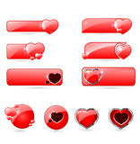 Red valentine's  day buttons set Stock Photo