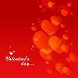 Red valentine's day card. With little hearts Stock Photos