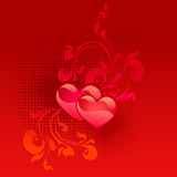 Red valentine's day card. With two red hearts Royalty Free Stock Photo