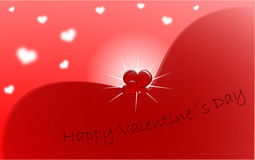 Red Valentine's Day greeting card. Red wishes happy Valentine's day with the three hearts in the middle of the picture Stock Images