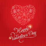 Red Valentine`s Day Greeting Card. Hand drawing pattern in the form of heart. Romantic pattern for valentine`s day with cupid, heart, love letter, key from the Royalty Free Illustration