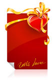 Red Valentine's day greeting card with heart Royalty Free Stock Image
