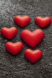 Red Valentine`s Day hearts Stock Photo