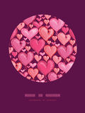 Red Valentine's Day Hearts Circle Decor Pattern Stock Images