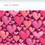 Red Valentine's Day Hearts Horizontal Torn Royalty Free Stock Photos