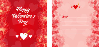 Red Valentine's Day invitation or card. With borders of small hearts on background Royalty Free Stock Photo