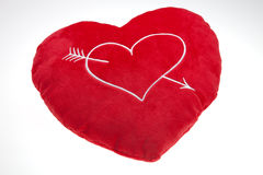 The red Valentine`s pillow Stock Photo