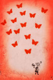 Red Valentine's postcard. Red Valentine's greetings with butterflies and drawing of smiling girl , love background Royalty Free Stock Photo