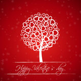 Red valentine tree with hearts. Valentine concept Royalty Free Stock Photo