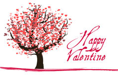 Red Valentine Tree With Hearts Stock Photos