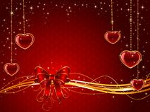 Red Valentines background with bow and hearts Stock Photos