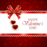Red Valentines background with hearts and bow Royalty Free Stock Images