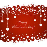 Red Valentines background with hearts Stock Images