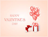 Red Valentines balloons and gift box Stock Image