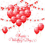Red Valentines balloons and pennants. Valentines background with red balloons in the form of heart, pennants and confetti, lettering Happy Valentines Day Royalty Free Stock Image
