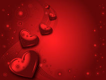 Red valentines card. Red valentines illustraited background with hearts and wave Stock Image