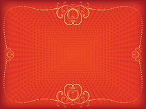 Red Valentines Day background. With vintage frame Stock Photo
