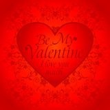 Red  Valentines day background with big heart Stock Image