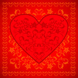Red  Valentines day background with flowers Stock Photos