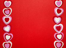 Red Valentines day background with hearts Royalty Free Stock Image