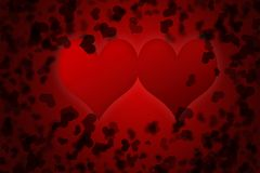 Red valentines day background for input text. Red valentines day background. Two hearts on red background with many little black heart for input text Royalty Free Stock Image