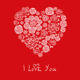 Red Valentines Day Card with flower hearts Royalty Free Stock Photo