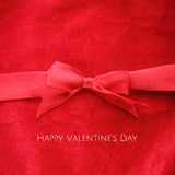 Red Valentines Day greeting card. Happy Valentine's Day, elegant minimalist greeting card design with red ribbon Stock Photography
