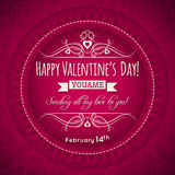 Red valentines day greeting card  with  heart, flo Royalty Free Stock Photo