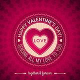 Red valentines day greeting card  with  hearts,  v Stock Photo