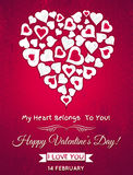Red valentines day greeting card  with  white hear Stock Images