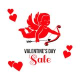 Red Valentines Day sale card. Red Cupid with arrow and bow, red hearts and text Sale Valentines Day. Seasonal sale cardl Royalty Free Stock Image