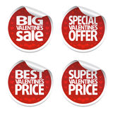 Red Valentines Day stickers set Royalty Free Stock Photos