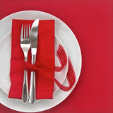 Red Valentines day table setting Royalty Free Stock Photos