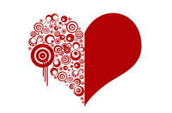 Red Valentines heart. With swirls Stock Image
