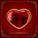 Red Valentines heart with couple Stock Photography