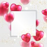 Red valentines hearts greeting card. Soft and smooth red valentines hearts greeting card. Realistic 3D vector illustration Royalty Free Stock Image