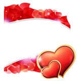 Red Valentines hearts and  petals Stock Image