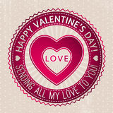 Red valentines stamp with hearts and wishes text Royalty Free Stock Photo